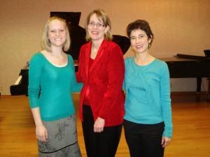 Ellie and Elizabeth with composer, Jennifer Linn, Hal Leonard Corporation